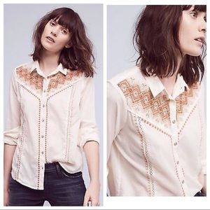 Anthro Holding Horses Iverie embroidered top